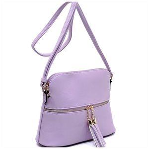 Lavender Tassel Zip Dome Crossbody Bag Satchel